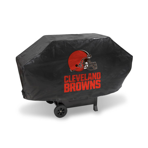 """68"""" x 35"""" Black and Red NFL Cleveland Browns Deluxe Outdoor Grill Cover - IMAGE 1"""