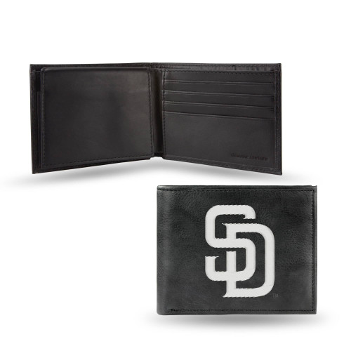 "4"" White and Black MLB San Diego Padres Embroidered Billfold Wallet - IMAGE 1"