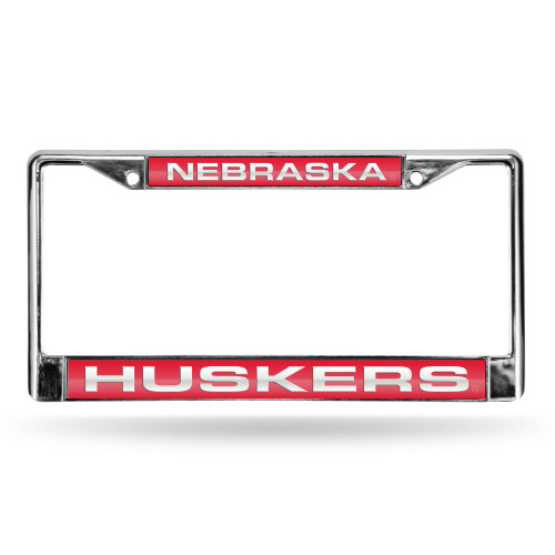 "6"" x 12"" Silver Colored and Red College Nebraska Cornhuskers License Plate Cover - IMAGE 1"
