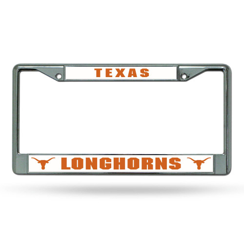 "6"" x 12"" Orange and White College Texas Longhorns Rectangular License Plate Cover - IMAGE 1"