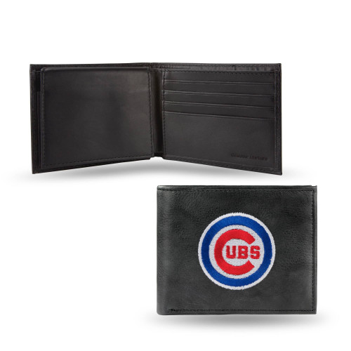 """4"""" Black and Blue MLB Chicago Cubs Embroidered Billfold Wallet - IMAGE 1"""