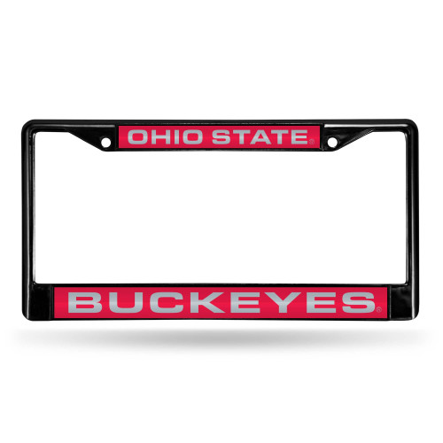 """6"""" x 12"""" Black and Red College Ohio State Buckeyes License Plate Cover - IMAGE 1"""