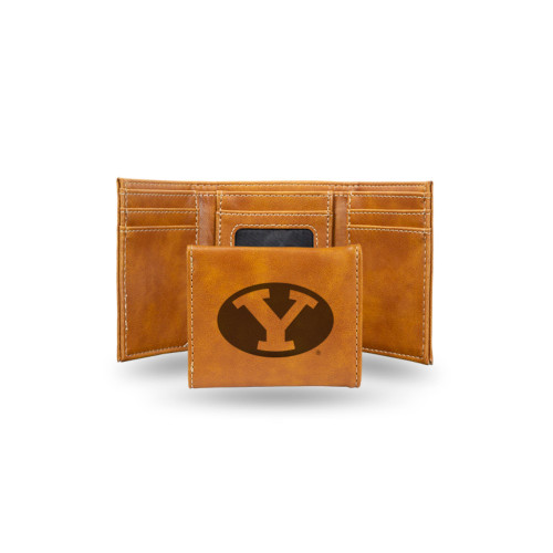"""4"""" Brown College BYU Cougars Rectangular Trifold Wallet - IMAGE 1"""
