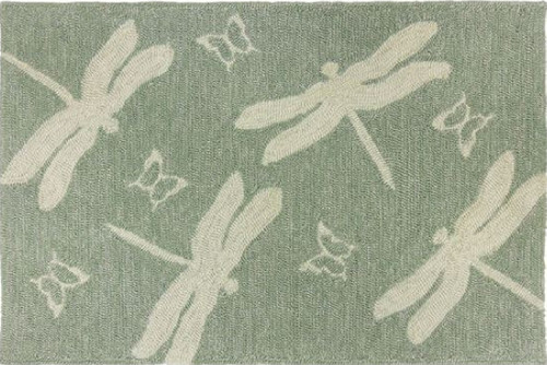 5' x 7' Green and Cream Dragonfly and Butterfly Indoor/Outdoor Area Rug - IMAGE 1