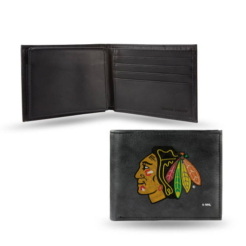 """4"""" Black and Yellow NHL Chicago Blackhawks Embroidered Billfold Wallet - IMAGE 1"""