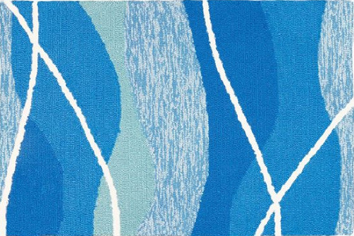 5' x 7' Blue and White Tranquility Bay Indoor/Outdoor Area Rug - IMAGE 1