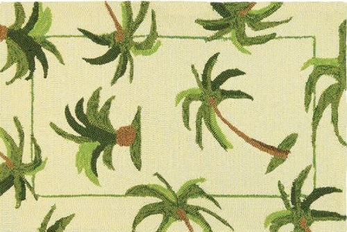 "26"" x 60"" Green and Beige Palm Tree Indoor/Outdoor Area Rug - IMAGE 1"