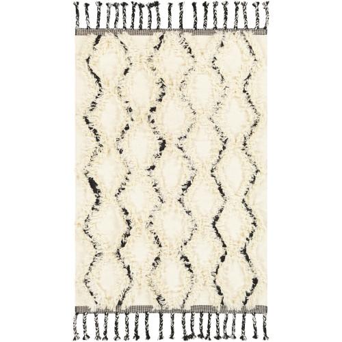 3' x 5' Black and Beige Hand Woven Rectangular Area Throw Rug - IMAGE 1