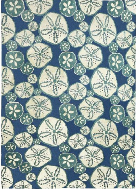 3' x 5' Blue and White Surfside Sand Dollars Rectangular Indoor Accent Rug - IMAGE 1