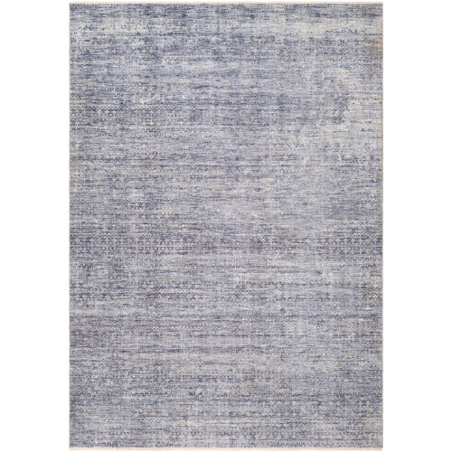 "7'10"" x 10'3"" Distressed Finish Blue and Gray Rectangular Machine Woven Area Rug - IMAGE 1"