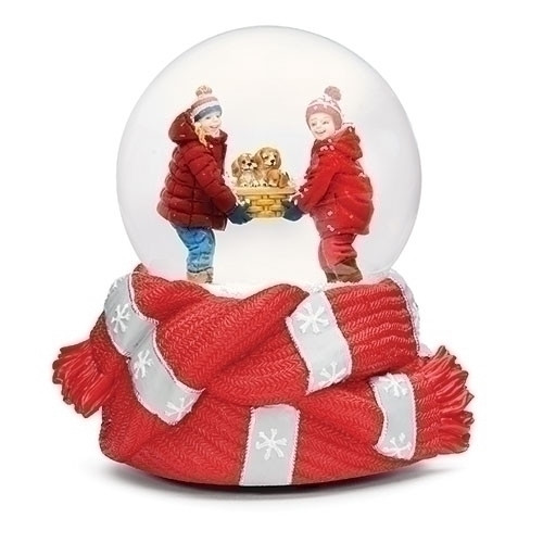 """Children and Puppies Glitter Dome with Red Scarf Base Snow Globe 5.75"""" - IMAGE 1"""