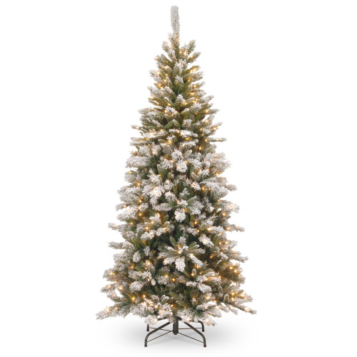 7.5' Pre-Lit Snowy Mountain Pine Slim Pine Artificial Christmas Tree with Clear Lights - IMAGE 1