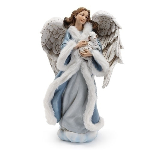 """10""""Angel in Blue Gown with Lamp Figurine - IMAGE 1"""