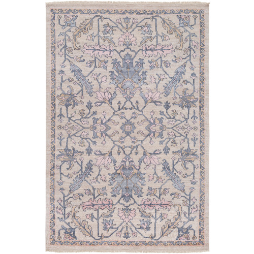2' x 3' Oriental Floral Patterned Brown and Charcoal Gray Rectangular Area Throw Rug - IMAGE 1