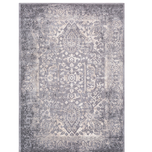 """9'3"""" x 12'3"""" Distressed Persian Design Gray and Ivory Rectangular Machine Woven Area Rug - IMAGE 1"""