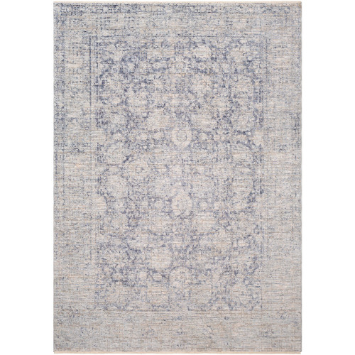 9' x 13' Distressed Finish Pale Blue and Gray Rectangular Area Throw Rug - IMAGE 1