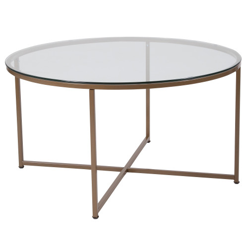 """35.5"""" Clear and Gold Glass Contemporary Circular Coffee Table - IMAGE 1"""