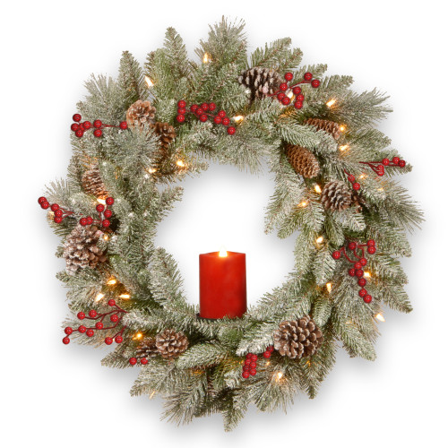 "24"" Pre-Lit Snowy Bristle Berry Artificial Christmas Wreath - Warm White LED Lights/BO - IMAGE 1"