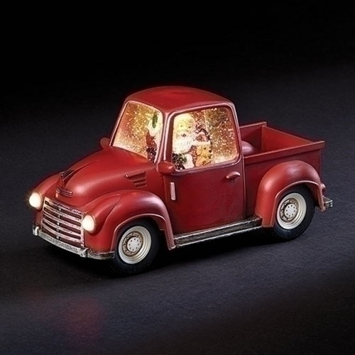 """6"""" Santa in Swirl Red Truck with Warm White Light - Battery Operated - IMAGE 1"""