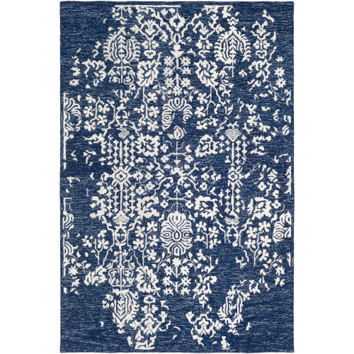 8' x 10' Broken Fragments Blue and Ivory Rectangular Hand Tufted Wool Area Throw Rug - IMAGE 1