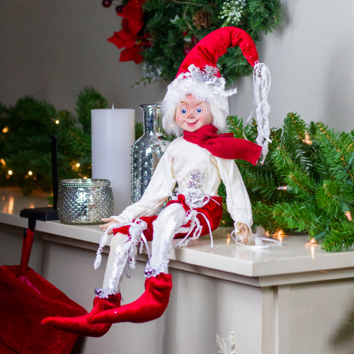 """20"""" Red and Cream Whimsical Dusty Elf With Holly Berries - IMAGE 1"""