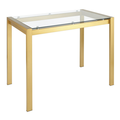 "48.25"" Gold Metal and Clear Glass Contemporary Fuji Counter Table - IMAGE 1"