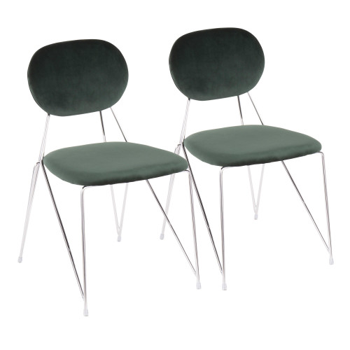 """Set of 2 Chrome with Green Velvet Contemporary Chair 32.25"""" - IMAGE 1"""