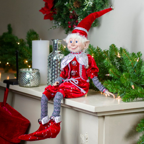 """20"""" Silver and Red Velvet Stardust Elf with Jingle Bells - IMAGE 1"""
