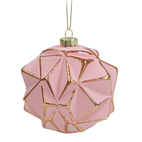 """Pink and Gold Round Geometric Glass Christmas Ornament 4"""" - IMAGE 1"""