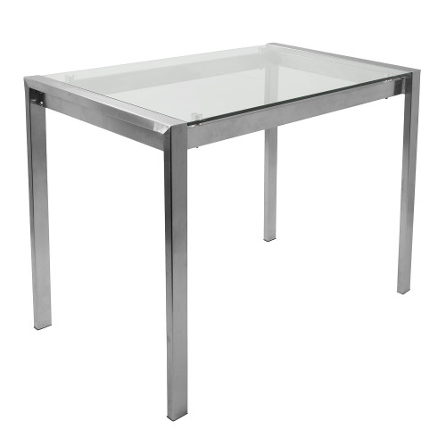 """48.25"""" Gray Stainless Steel and Clear Glass Contemporary Fuji Counter Table - IMAGE 1"""