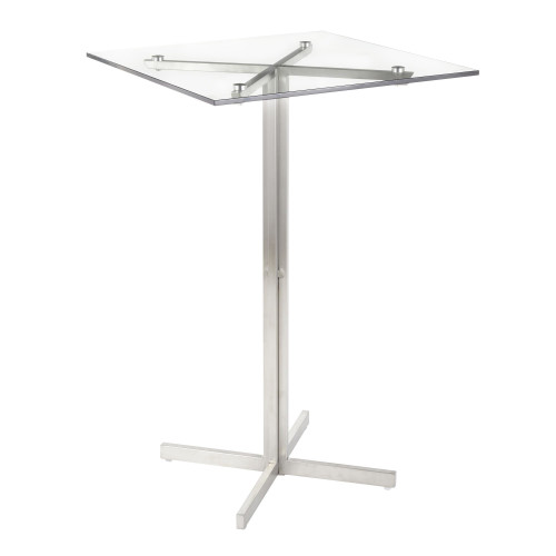 "42"" Clear Glass and Stainless-Steel Fuji Contemporary Square Bar Table - IMAGE 1"