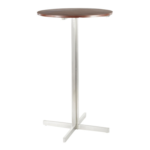"42"" Walnut Brown and Stainless-Steel Fuji Contemporary Round Bar Table - IMAGE 1"