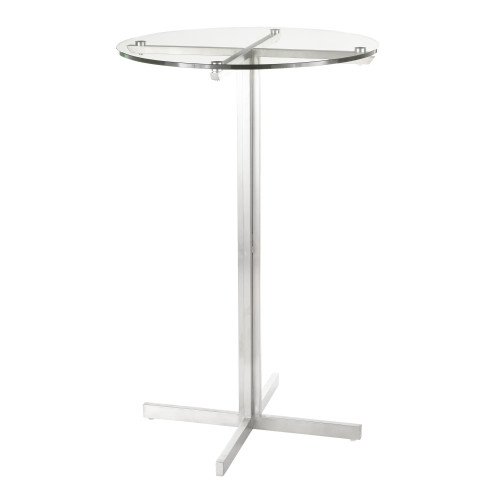 "42"" Clear Glass and Stainless Steel Fuji Contemporary Round Bar Table - IMAGE 1"