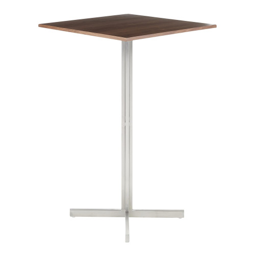 "42"" Walnut Brown and Stainless-Steel Fuji Contemporary Square Bar Table - IMAGE 1"