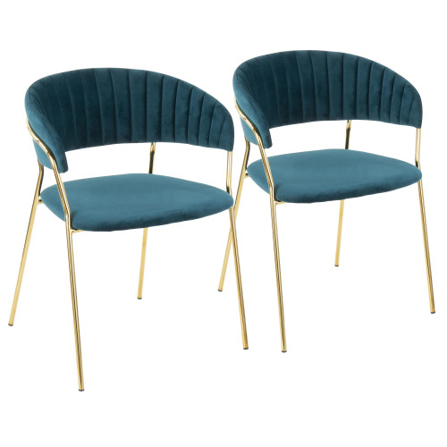 "Set of 2 Teal Blue Velvet Fabric and Gold Metal Tania Dining Chair, 30"" - IMAGE 1"
