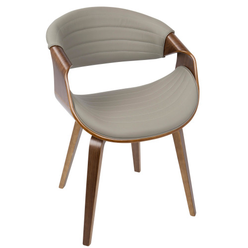 """30.75"""" Light Grey Leather and Brown Wooden Symphony Dining Chair - IMAGE 1"""