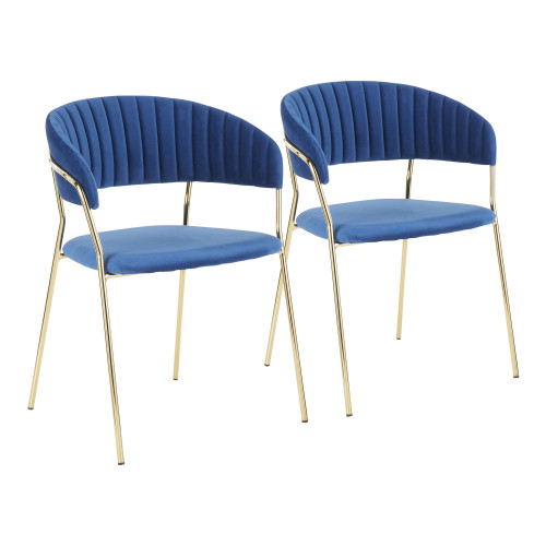 """Set of 2 Blue Velvet Fabric and Gold Metal Tania Dining Chair, 30"""" - IMAGE 1"""