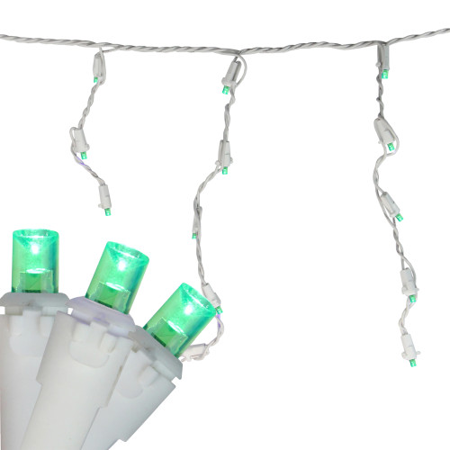 Set of 70 Green LED Wide Angle Icicle Christmas Lights - 6ft White Wire - IMAGE 1
