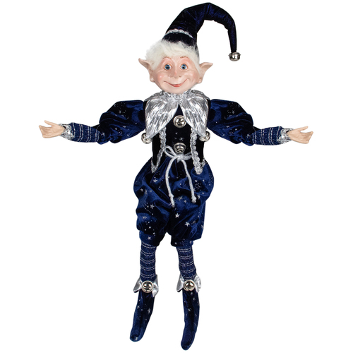 """20"""" Midnight Blue and Silver Elf with Stars Christmas Tabletop Decor - IMAGE 1"""