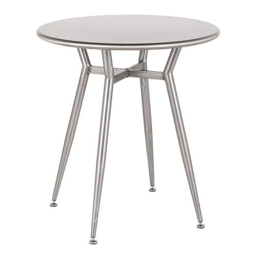 """30.25"""" Clear Brushed Silver Round Metal Top Dinette Table - IMAGE 1"""