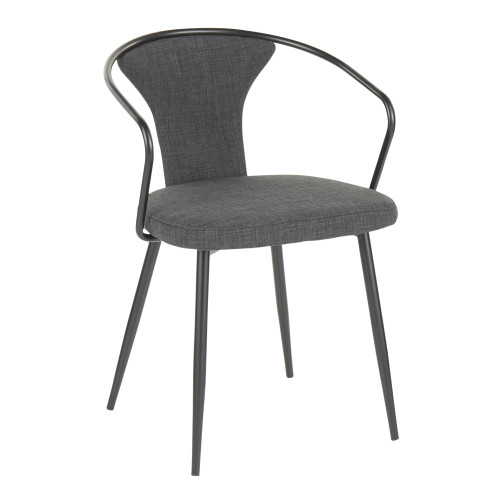 """29"""" Black Metal and Dark Gray Fabric Industrial Upholstered Chair - IMAGE 1"""