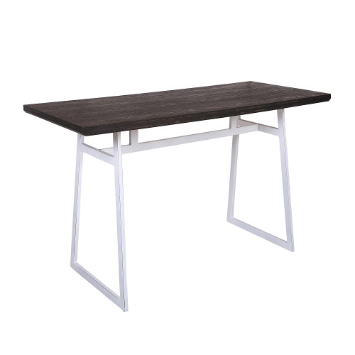 """60"""" White Vintage Metal Legs with Espresso Bamboo Top Geo Counter Table - IMAGE 1"""