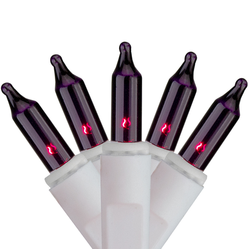 Set of 100 Purple Mini Icicle Christmas Lights - 7.8ft White Wire - IMAGE 1