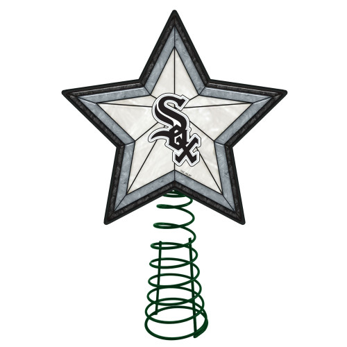 """10"""" Lighted Black and Gray Star MLB Chicago White Sox Christmas Tree Topper - IMAGE 1"""