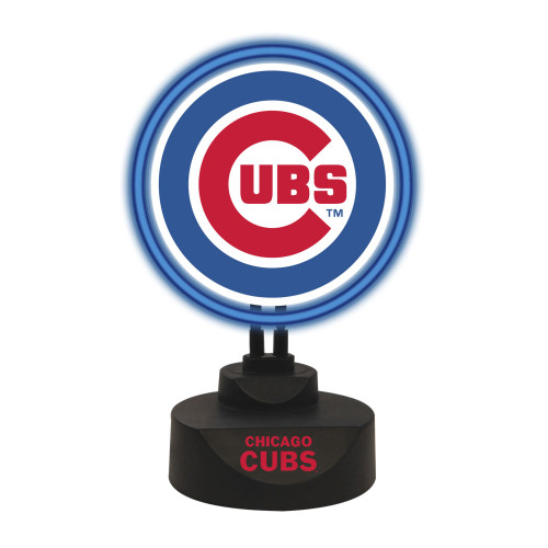 "13.5"" Blue and Black MLB Chicago Cubs Tabletop Neon Lamp - IMAGE 1"