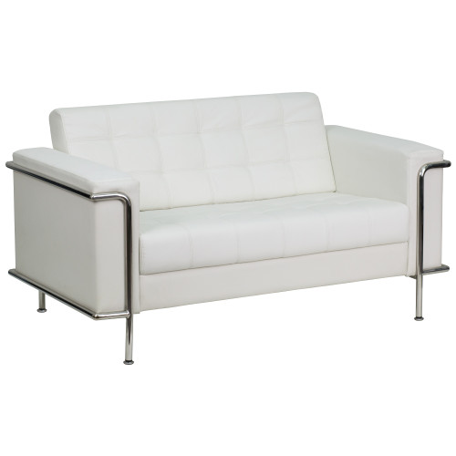 """59"""" Melrose White Hercules  Lesley Series Contemporary Leather Loveseat with Encasing Frame - IMAGE 1"""