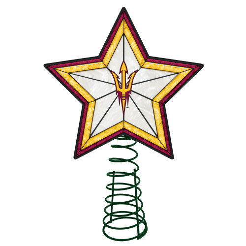 """10"""" Lighted Yellow and Red Star NCAA Arizona State Sun Devils Christmas Tree Topper - IMAGE 1"""