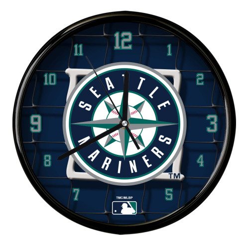 """11.5"""" Navy Blue and Green MLB Seattle Mariners Net Wall Clock - IMAGE 1"""