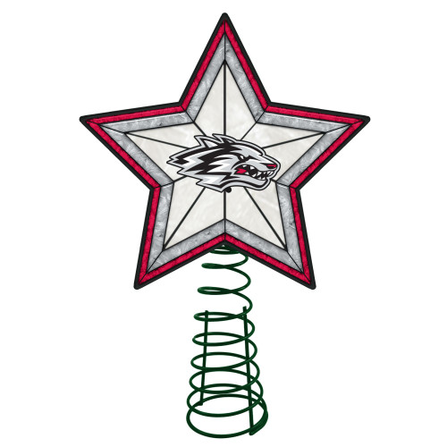 """10"""" Lighted Red and Gray Star NCAA New Mexico Lobos Christmas Tree Topper - IMAGE 1"""
