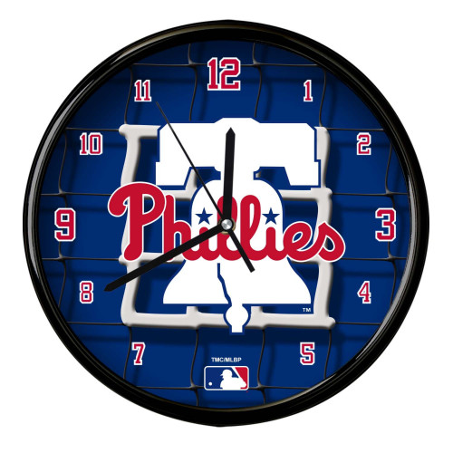 "11.5"" Blue and Red MLB Philadelphia Phillies Net Wall Clock - IMAGE 1"